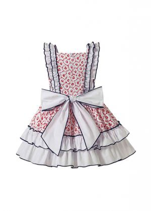 Sweet Pink Floral Print Girls Layered Dress With Cute Bows + Hand Headband