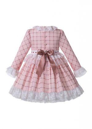 Macaron Pink Check Sweet Layered Girls Lace Boutique Autumn Dress + Handmade Headband