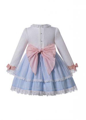 Autumn Light Blue Girls Ribbons Bow Dot Double-layered Boutique Dress + Hand Headband