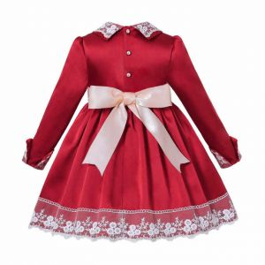 (Pre-order products) Autumn & Winter Girls Red Christmas Lace Pearls Dress