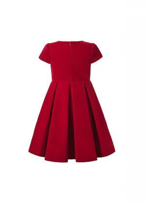 (Pre-order products) 2020 Vintage Girl O-Neck Flower Red Short-Sleeve Dress