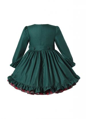 (Pre-order products) Winter Girls  Ruffle Plaid Christmas Dress with Green Bows