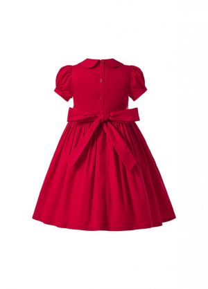 (Pre-order products) Boutique Girl Princess Embroidered Red Short-Sleeve Smocked Dress