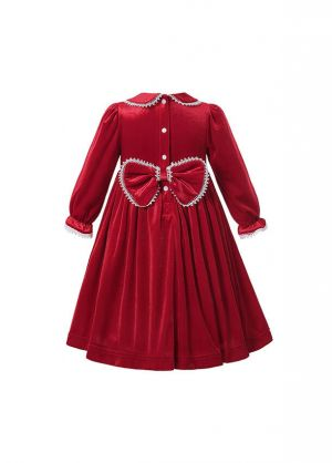(Pre-order products) Christmas Winter Girl Sweet Double-layered Embroidered  Red Smocked Dress