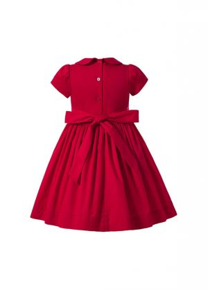 (Pre-order products) Girl Cute handmade Embroidered Red smocked Dress