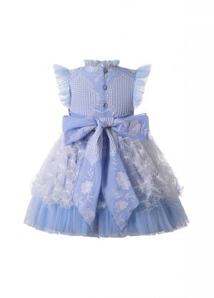 (PRE-ORDER)Embroidery Lace Chiffon Bows Feather Ornament Girls Blue Dress + Handmade Headband