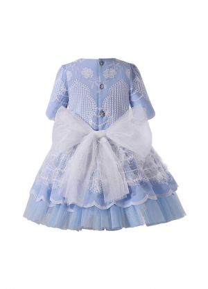 (PRE-ORDER)Blue Floral Embroidery Tulle Bows Feather Decoration Short Sleeve Girls Dress + Handmade Headband