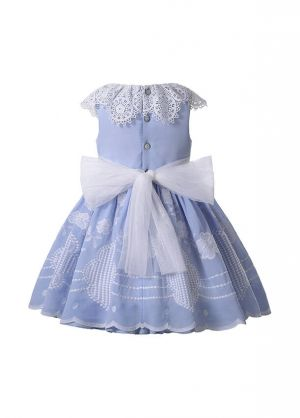 (PRE-ORDER)2021 Princess Embroidery Tulle Bows Feather Sleeveless Blue Dress + Handmade Headwear