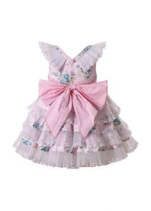 (PRE-ORDER)Summer Girls Light Pink V-neck Dress with Blue Flower Patterns Lace Bows + Handmade Headband