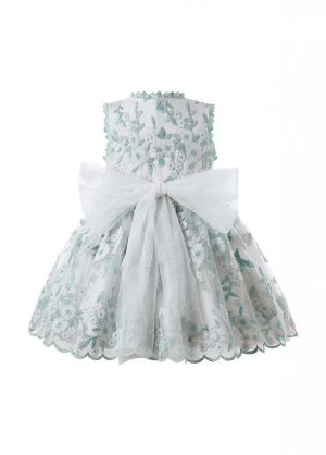 Princess White Lace Yarn Flower Heart Embroidery Bow Dress with Matching Headband