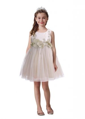 Gold Flowers Princess Kids Girls Dress