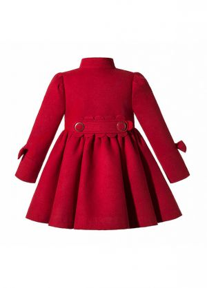 (Pre-order Products)Autumn & Winter Girls Red Single Breasted Wool Coat + Handmade Headband