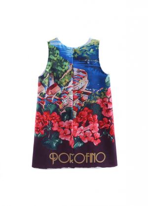 Kids Summer Flower  Printing Baby Girls Dress