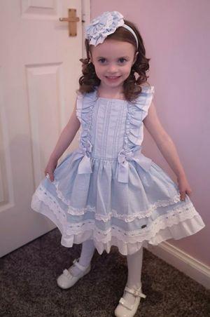 Newest Summer Girls Dress Sky Blue Princess Dresses For Girls With Bows + Handmade Headband