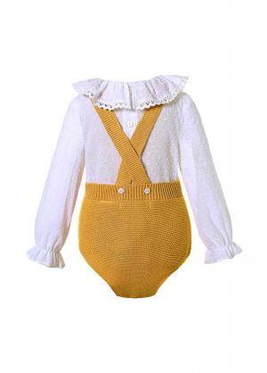 2 Piece Yellow Baby  Pom Pom Romper + Ruffle White Shirt
