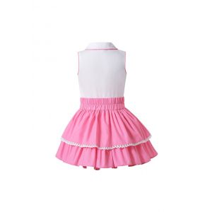 Boutique Summer Girls Doll-Collar White Lace Shirt + Solid Pink Princess Skirt +Hand Headband