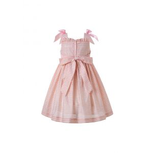 2020 Sweet Pink Floral Ruffled Shoulderless Princess Smoked Dress With Bows