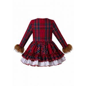 2019 Christmas Red Grid Vintage FauxFur Sleeve Girl Dress + Hand Headband