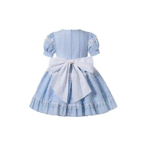 Princess Light Blue Lace England Style Folds Girls Dress with Bow + Headband