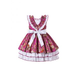 Girls Burgundy Boutique Ruffle White Rose Princess Dress + Hand Headband