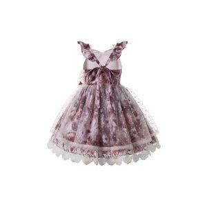 Flower Lace Sleeveless V-neck Girls Fuchsia Dress