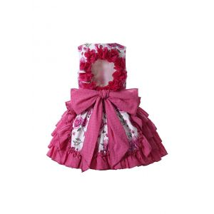 Rose Red Lace Bows Dots  Sleeveless Floral Patterns Girls Dress + Handmade Headband