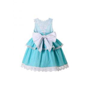 Girls Sweet Blue Summer Dress + Handmade Headband