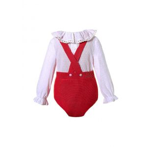 Red 2 Piece baby Pom Pom Baby Sweater Romper + Long Sleeves Shirt