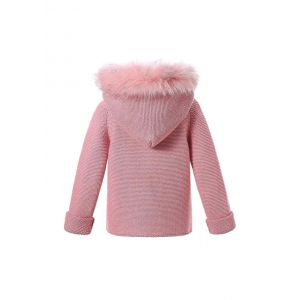 Dark Pink baby Square Collar Sweater Coat With Detachable Hat