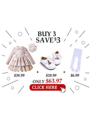 4 pcs Matching Sets Girls Autumn Small Fragrance Woven Fabric Dress + Handmade Headband + Shoes + Socks