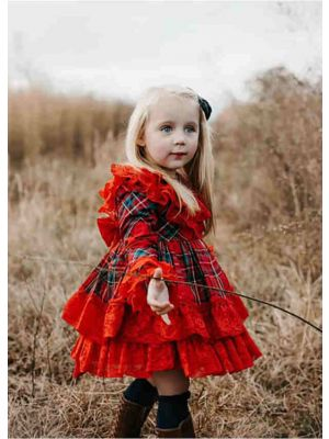 Vintage Autumn Red Tartan Garment Dyed Lace Boutique Kids Dress + Hand Headband