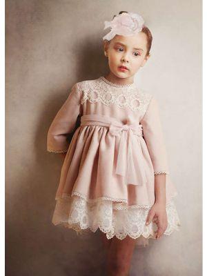Light Pink Lace Kids Princess Wedding Birthday Ceremony Dress + Hand Headband