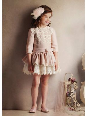 (Only Size 4Y) Light Pink Girls Autumn Dress With White Layered Lace + Hand Headband