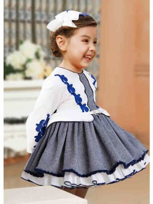 (ONLY 10Y) False Two-Piece White & Grey Knitted Party Princess Dress + Hand Headband