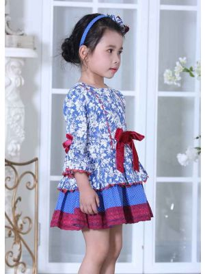 Blue Princess Flower Girl Dress