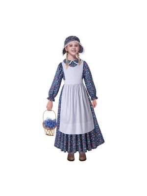 Dark Blue Pioneer Girls Dress Colonial Prairie