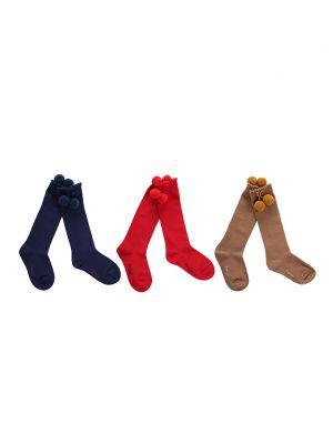 3 Pairs Girls Keen-length Pom Pom Socks(Red, Camel, Navy Blue)