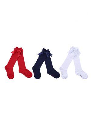 3 Pairs Bow-knot Knee-length Girls Socks(Red, Navy Blue, White)