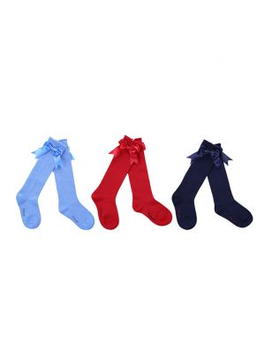 3 Pairs Bow-knot Knee-length Girls Socks(Red, Light Blue, Navy Blue)