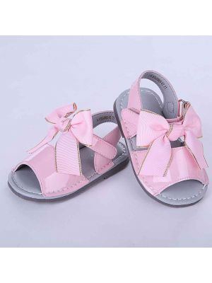 Pink Cute Girls Sandals Shoes With Handmade Bow-knot