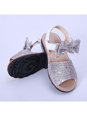 Pink Glitter Sequin Girls Party Shoes With Handmade Bow-knot