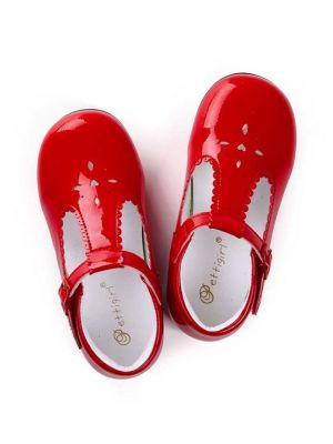 Red New Design Microfiber Leather Girls Hollow Shoes