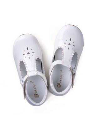 White New Design Microfiber Leather Girls Hollow Shoes