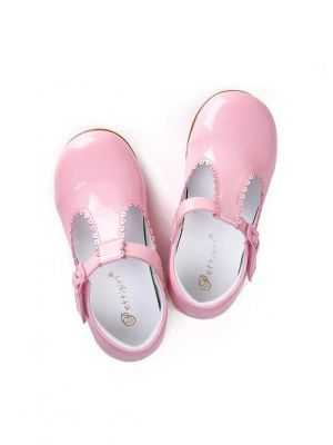 Pink New Design Microfiber Leather Handmade Girls Shoes