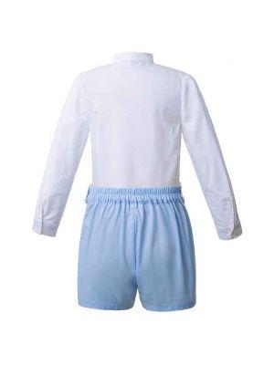 Blue Flower Printed Boy Clothing Set