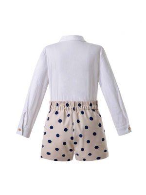 Dot Boy Clothing Sets Single-breasted Shirts With Embroidery Logo+Khaki Pants