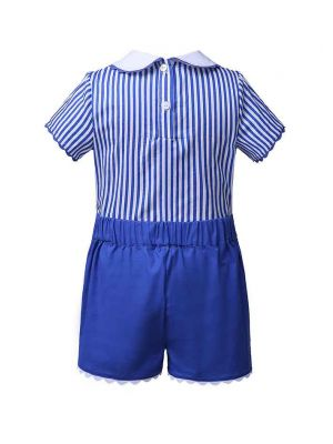 (ONLY 8Y Left) Blue Stripe Boy Clothing Set