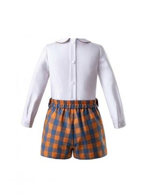 New Boys Cotton Sets With White Top + Orange Shorts