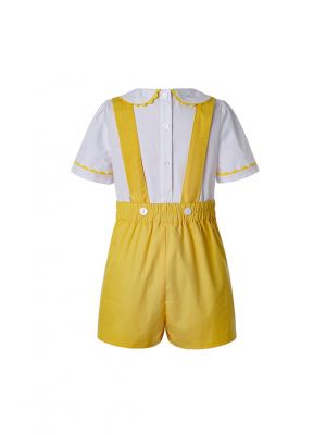Summer Yellow Easter Boy Clothing Sets With White T-shirt + Yellow Casual horts