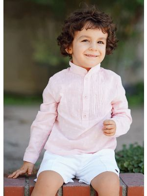 Pink Boys Clothing Set Stand Collar With Pleated Shirt And white Shorts Kids Clothes